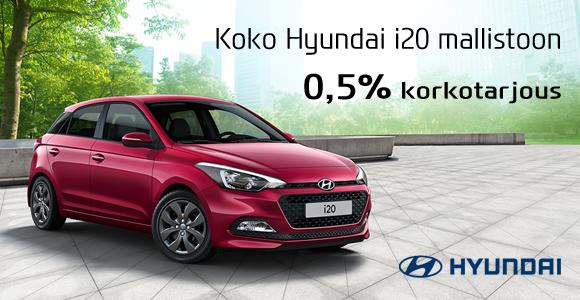 Koko Hyundai i20 mallistoon korkotarous 0.5%