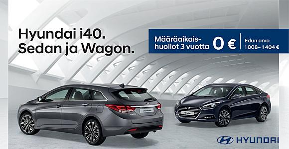 1.9.-31.10. Hyundai i40 ostajalle 3 vuoden määräaikaishuollot veloituksetta