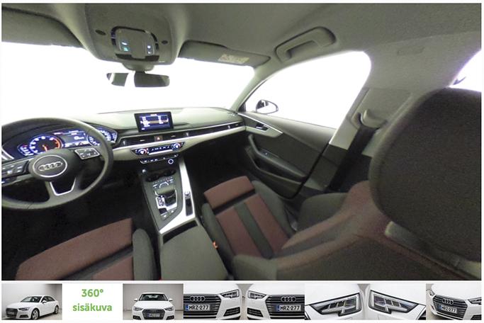 360-kuva auton sisätiloista Autotiellä