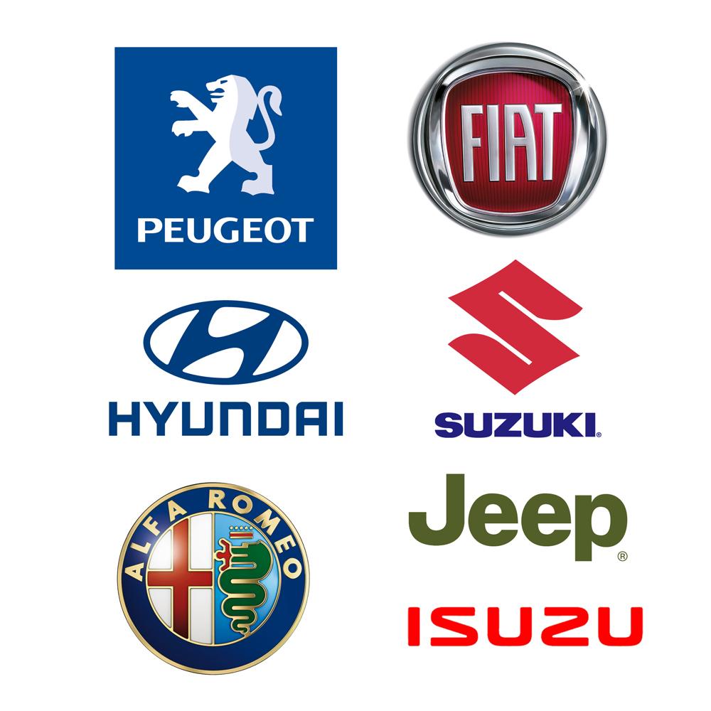 Merkkihuollot: Peugeot, Fiat, Jeep, Alfa Romeo, Suzuki, Hyundai ja Isuzu.